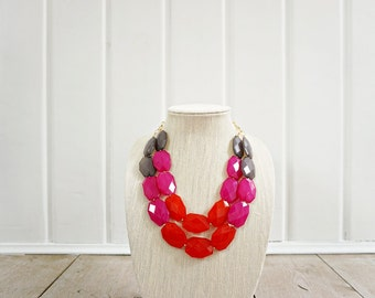 Red, Pink, and Grey Acrylic Faceted Bead Statement Necklace
