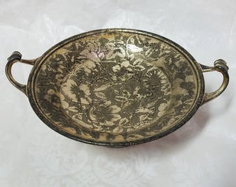 Vintage pedestal compote tray with curled handles and an embossed floral pattern, Weidlich Bros Mfg, silver compote, silver pedestal compote