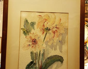 Antique still life watercolor with flowers