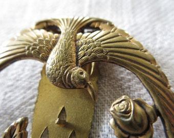 Vintage Goldtone Clip Brooch - Dove and Roses Motif