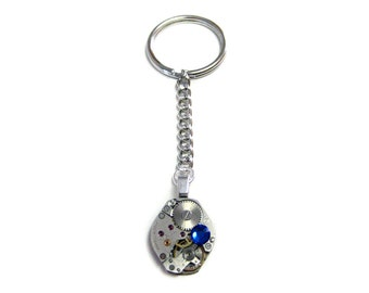 Rounded Steampunk Watch Gear Key Chain with Blue Swarovski Crystals