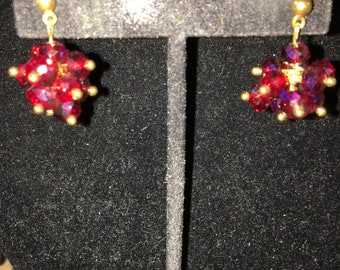 Vintage Ruby Red Crystal Ball Pierced Earrings
