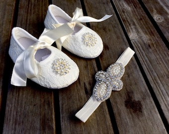 White/Ivory/Cream Pearl & Rhinestone Crib Shoe Set with Matching Headband/Christening Shoes/Baptism Shoes/White/Red/Black/Pink/Cream