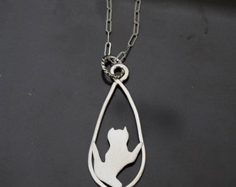 Silver Stretching Cat Pendant Crafted from Tarnish-Resistant Argentium Silver