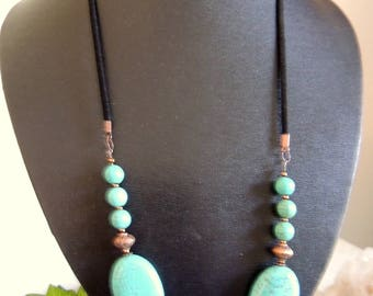 Turquoise and Copper Bib Necklace, Gift for Her