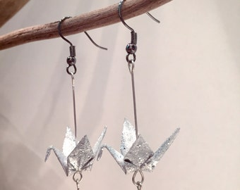 Origami paper cranes sequined Silver earrings and Pearl them Swarovski