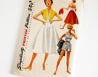 Vintage 1950s Womens Size 12 Halter, Shorts, Skirt and Jacket Simplicity Sewing Pattern 4748 Complete / b30 w24
