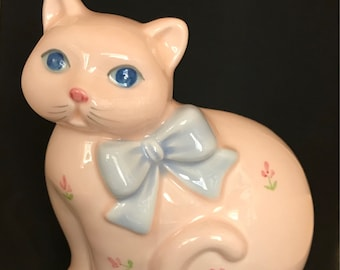 Vintage Pink Ceramic Cat Planter by Takahashi Great for Succulents Houseplants