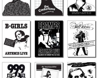 Original Punk Flier Artwork designed in 1978-79, reproduced on a complete set of 9 Postcards, each 4.25 x 5.5 inches