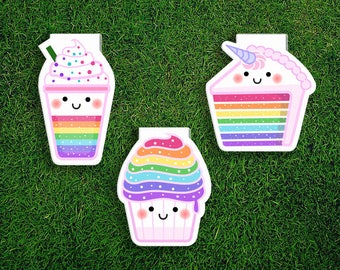Magnetic Bookmark Set | Rainbow Unicorn Cake Cupcake Frappuccino Dessert Magnet Cute Book Bookmarks Pack of 3, Magnetic Cute Quirky Kawaii