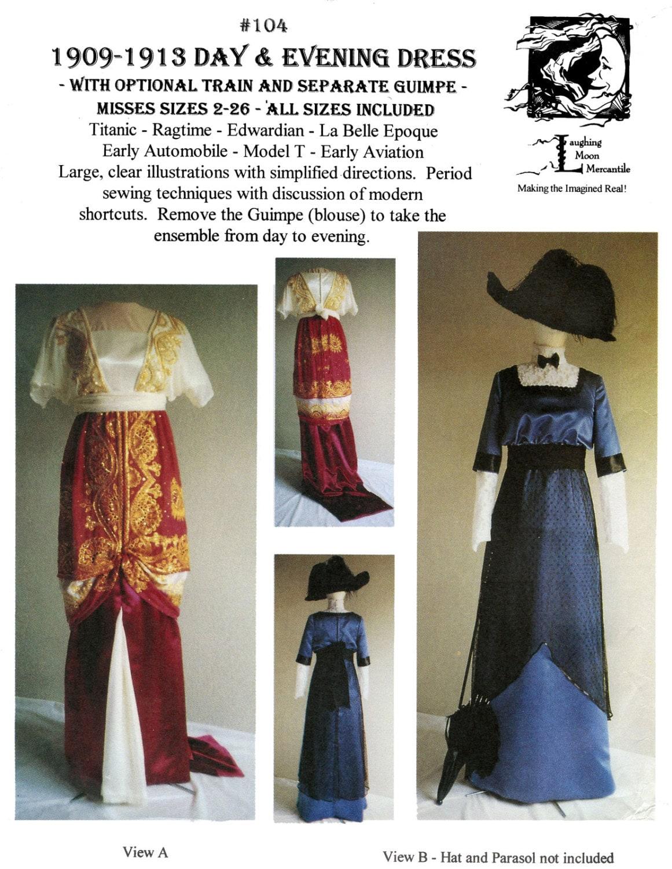 Ladies\' 1909-1913 Tag & Abendkleid Größen 2-26 lachenden