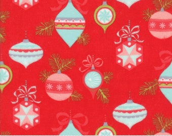 Vintage Holiday FLANNEL (55160 11F) Red Ornaments Bonnie & Camille