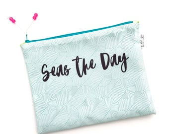 Seas The Day Bikini Bag, Waves Wet Bag, Blue Water Resistant Beach Bag, Typography Zipper Pouch, Recycled Canvas Clutch, Inspirational Quote