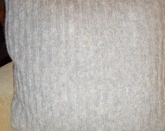 Sofa Pillow light grey patterned finest baby Alpaca wool 50 x 50 cm