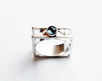 Handmade Cabochon Ring With London Blue Topaz Modernist Style Size 6 - 6 1/2
