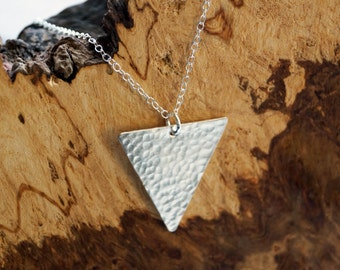 Dimpled Large Triangle Sterling Silver Necklace ~ modern, geometric, triangle, pendant, minimal, statement, texture