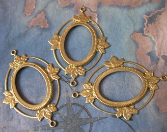 2 PC Raw Brass Victorian Open Back Cabachon / Cameo Frame 25 x 18 - QQ24