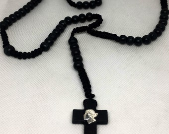 Rosary Corsica cord and black wood beads