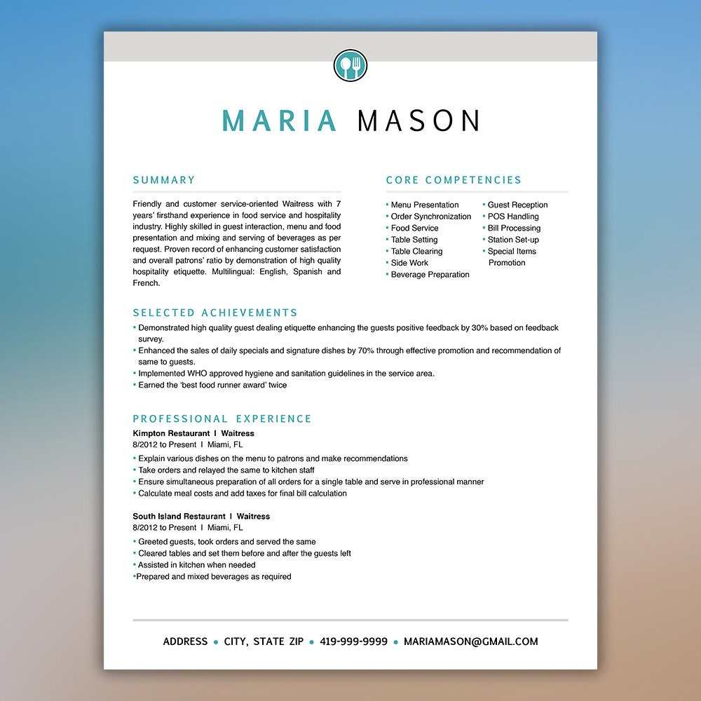 🔎zoom  Food Resume