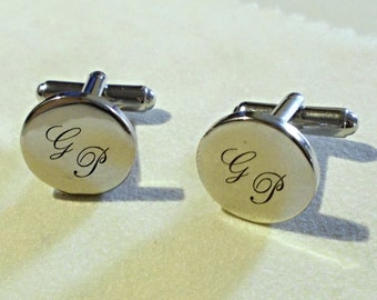 Round silver plated cufflinks men's personalized with your initials hand finished cufflinks custom monogram