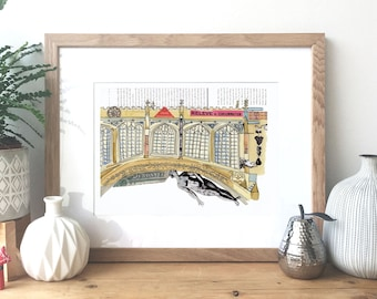 Cambridge -  Bridge of Sighs, England - Ink, watercolour and collage illustration