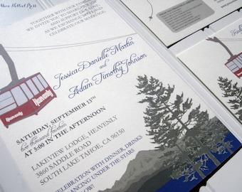 Heavenly Mountain Tram - Lake Tahoe - Ski Wedding Invitations