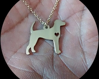 Foxhound Necklace - Engraving Pendant - Sterling Silver Jewelry - Gold Jewelry - Rose Gold Jewelry - Personalized Dog Jewelry Engrave Charm