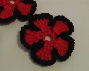 Crochet flowers applique black and Red Nasturtium flowers cotton