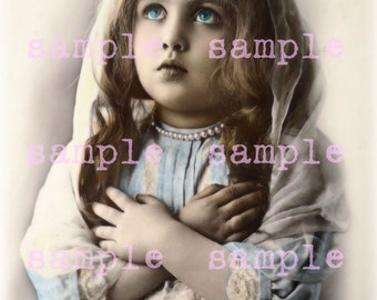 Viktorianischen Engel Mädchen sofort Digital Download Vintage schöne viktorianische kleine Mädchen druckbare religiösen Gebet Weihnachtskarte