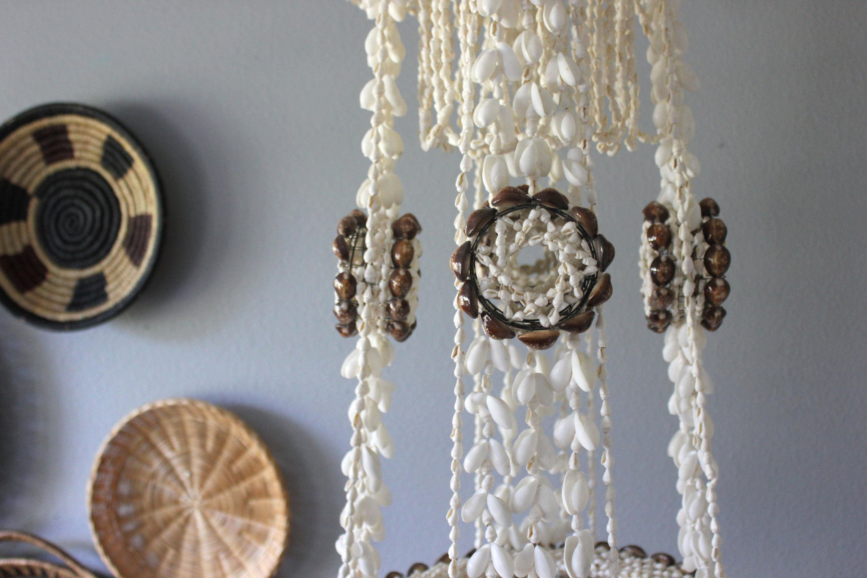 Large vintage bohemian hanging shell planter chandelier boho beach decor gallery photo gallery photo gallery photo arubaitofo Image collections