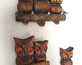 Vintage Owl Wall Hangings Set of Three