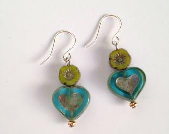 Handmade Czech Glass Hearts and Flowers Earrings