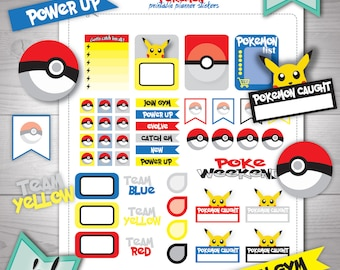 Pokemon Go planner stickers SALE Printable stickers. Erin Condren stickers. Kawaii stickers. Pokemon teams printable. Cartoon stickers SALE.