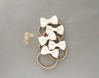 Headband- Dainty Headband   Cream Dainty Bow