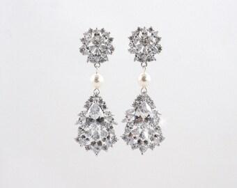 ALLIE - Wedding Earrings, Chandelier Bridal Earrings, Vintage Wedding, Teardrop Earrings, Crystal Earrings, Bridal Jewelry, Cubic Zirconia