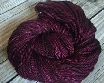 Feelin Fine with Blackberry Wine Hand Dyed Bulky Yarn 100% superwash merino wool 106 yards Big Treasures Bulky Weight Yarn burgandy purple