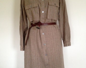 WOOL TWEED Bill Kaiserman Rafael Dress Shirt Style Long Sleeves Made in Italy Size Small