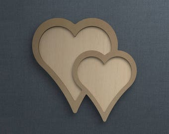 Frame Kit, Double Heart, Wood Frame, Picture Frame, DIY