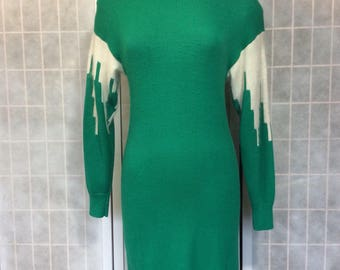 Vintage 1980s Green and White Knit Sweater Dress Long Sleeve Midi Length By Christina Grant Size Medium