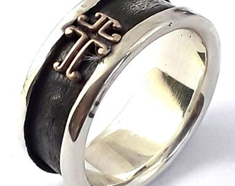 18k pl Oxidized Sterling Silver Cross Designed Wedding Band