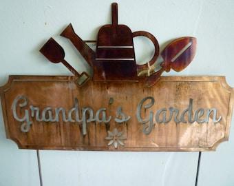 Grandpa's Garden Custom Metal Garden Sign