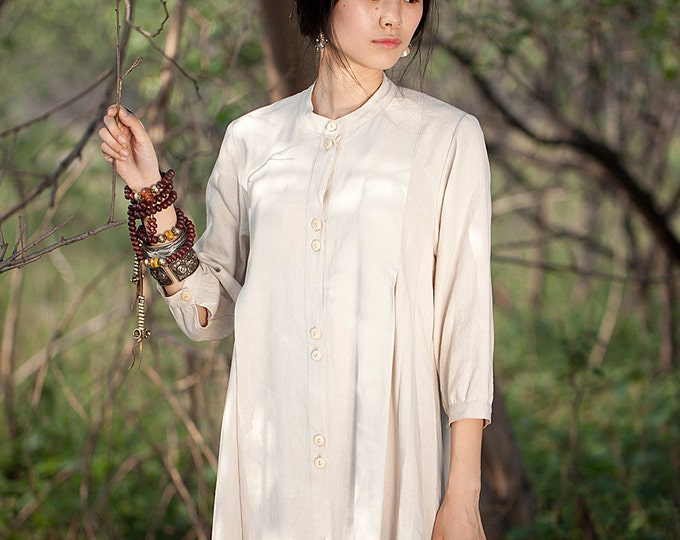 Linen shirt - Women shirt/tunic - Long Sleeve shirt - Pleated shirt/Decorative pleat - Neck round - Made to order