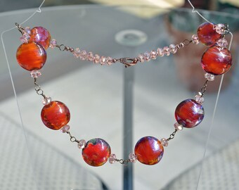 Lampwork Lentil and fire polished crystal Necklace