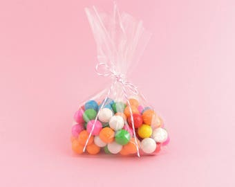 """Clear Cello Treat Bags, 4"""" x 2"""" x 8"""", gusseted bottom, polypropylene bags, Food Safe, Favor Bags, Birthday Parties, Holiday Parties, Qty 50"""
