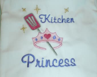 American Made Embroidered Girl Child Apron Kitchen Princess with Tiara Children's Apron Size Small Medium or Large