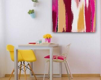 "Magenta Orange Wall Art, Canvas Wall art, Home Decor, Wall Decor 16""x20"" 20""x30"" 30""x40"", Magenta Red White Pink Orange Peach"