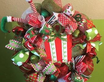 Christmas Elf Present Wreath, Christmas Wreath, Elf Wreath, Christmas Present Wreath
