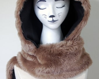 Brown Fox Animal Hood - Limited Edition - With Attached Scarf and Pockets - In Stock