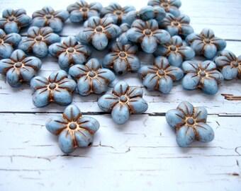 LAST PACK - 5 Blue Czech Glass Beads Puffed Daisy Flower Beads 14 x 13 mm