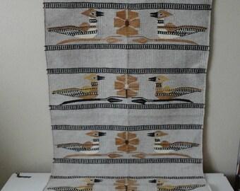 VINTAGE woven wool mexican BIRD RUG